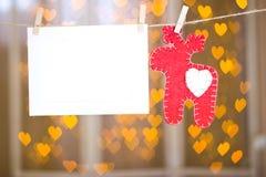 Рамки фото и красные олени сделанные из войлока Стоковые Фотографии RF