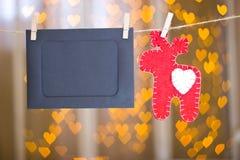 Рамки фото и красные олени сделанные из войлока Стоковые Фото