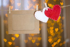 Рамки фото и 2 сердца сделанных из войлока Стоковое Изображение