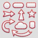 Рамки шарика Рамки ретро шатёр знаки пустые и кино, казино и театр стрелки Светлый вектор шильдика изолировал комплект бесплатная иллюстрация
