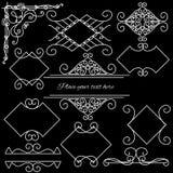 Рамки Doodle установленные на черную предпосылку Стоковые Фотографии RF
