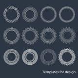 Рамки Seth первоначальные круглые Картины элементов дизайна Лучи Солнця minimalism Винтажные объекты вензель Линейный чертеж иллюстрация вектора