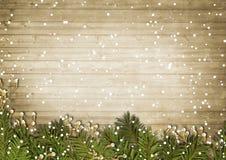 Рамки vyntage рождества на деревянной предпосылке Стоковое Изображение