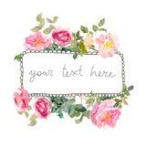 Рамку акварели с розами, можно использовать как карточка приглашения для wedding, день рождения и другие праздник и лето иллюстрация вектора