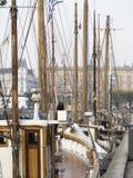 Рангоуты кораблей в Nyhavn Копенгагене Стоковая Фотография RF