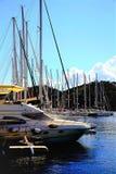 Рангоуты Марины, городок Skiathos, Греция стоковая фотография rf