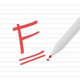 Ранг f на линии бумаге с красной ручкой Стоковая Фотография
