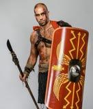 Раненый гладиатор с копьем стоковое изображение rf