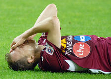 Раненый футболист стоковое изображение
