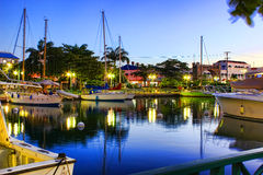 Ранний вечер на причале в Бриджтауне, Барбадос Стоковые Фотографии RF