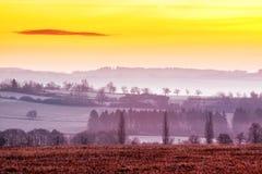 Рано утром ландшафт зимы стоковое изображение rf