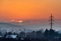 Рано утром восход солнца над малым районом города Братиславой Стоковые Изображения RF