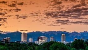 Рано утром горизонт неба над Солт-Лейк-Сити Стоковое Изображение RF