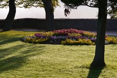 Рано утром грейте на солнце внутри парка на Siegen, Германии Стоковые Фотографии RF