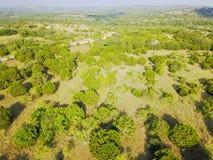 Ранчо Техаса вида с воздуха в временени Стоковые Изображения RF