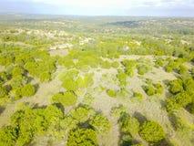 Ранчо Техаса вида с воздуха в временени Стоковая Фотография