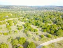 Ранчо Техаса вида с воздуха в временени Стоковые Изображения