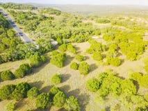 Ранчо Техаса вида с воздуха в временени Стоковое Изображение