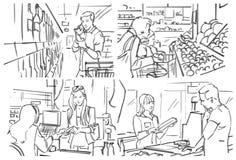 Раскадровка с покупками людей на бакалее стоковые изображения
