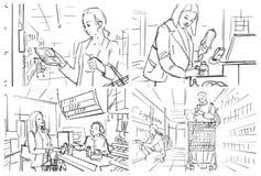 Раскадровка с покупками людей на бакалее стоковое фото