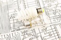 Раскаление люминесцентной лампы и лампы Стоковое Фото