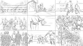 Раскадровка с футболистами Стоковые Изображения RF