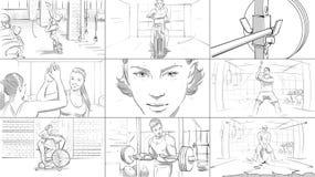 Раскадровка фитнеса спортзала стоковое изображение rf