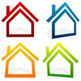 Расквартируйте домой, пригородный, жилой дом, значки недвижимости бесплатная иллюстрация