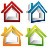 Расквартируйте домой, пригородный, жилой дом, значки недвижимости иллюстрация штока
