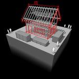 Расквартируйте рамки с разделенным эскизом дома над им Стоковая Фотография RF