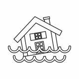 Расквартируйте тонуть в значок воды, стиль плана иллюстрация штока