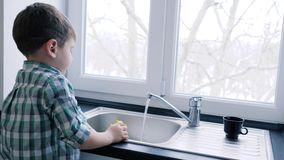 Расквартируйте чистку, посуду мыть ребенк под краном дома видеоматериал