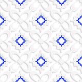 Раскосные белые и голубые волнистые квадраты и картина цветков иллюстрация штока