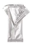 Раскройте алюминиевую сумку изолированную на белизне Стоковые Изображения