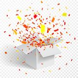 Раскройте белые подарочную коробку и Confetti предпосылка прозрачная также вектор иллюстрации притяжки corel иллюстрация вектора