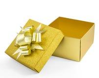 Раскройте взгляд сверху подарочной коробки glod Стоковые Фото