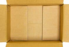 Раскройте взгляд сверху картонной коробки Стоковые Фото