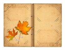 Раскройте винтажное photoalbum для фото с листвой осени Стоковое фото RF