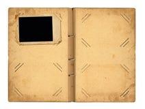 Раскройте винтажное photoalbum для фото Стоковые Изображения
