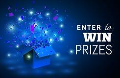 Раскройте голубые подарочную коробку и Confetti на голубой предпосылке Войдите в для того чтобы выиграть призы также вектор иллюс иллюстрация вектора