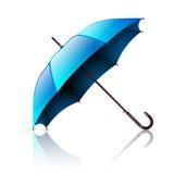 Раскройте голубой зонтик на белизне Стоковая Фотография RF