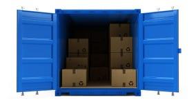 Раскройте голубой контейнер для перевозок перевозки груза при картонные коробки изолированные на белизне бесплатная иллюстрация