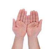 Раскройте жест рук ладони мужской руки Стоковые Изображения