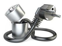 Раскройте заряжатель батареи с штепсельной вилкой Стоковые Фото