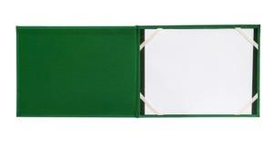 Раскройте зеленую изолированную тетрадь Стоковое фото RF