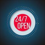Раскройте знак 247 Полний недел значок магазина обслуживания Стоковое фото RF