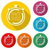 Раскройте 24/7 - 365, 24/7 365, 24/7 365 значков, значок цвета с длинной тенью иллюстрация штока