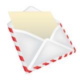 Раскройте изолированный конверт с взглядом перспективы бумажного объекта Стоковые Изображения RF