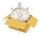 Раскройте картонную коробку с секундомером Стоковое Фото