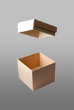 Раскройте квадратную коробку в изолированной предпосылке Стоковая Фотография